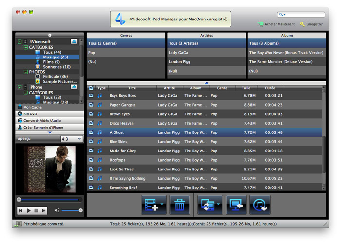 Transfer iPod files to Mac, iPod to iTunes.