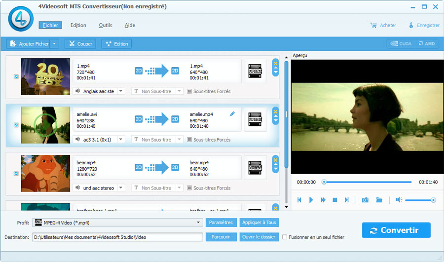 Click to view 4Videosoft MTS Convertisseur screenshots