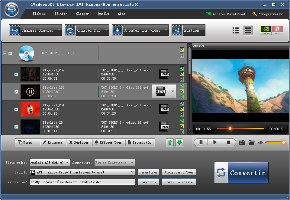 4Videosoft Ripper Blu-ray en AVI screenshot
