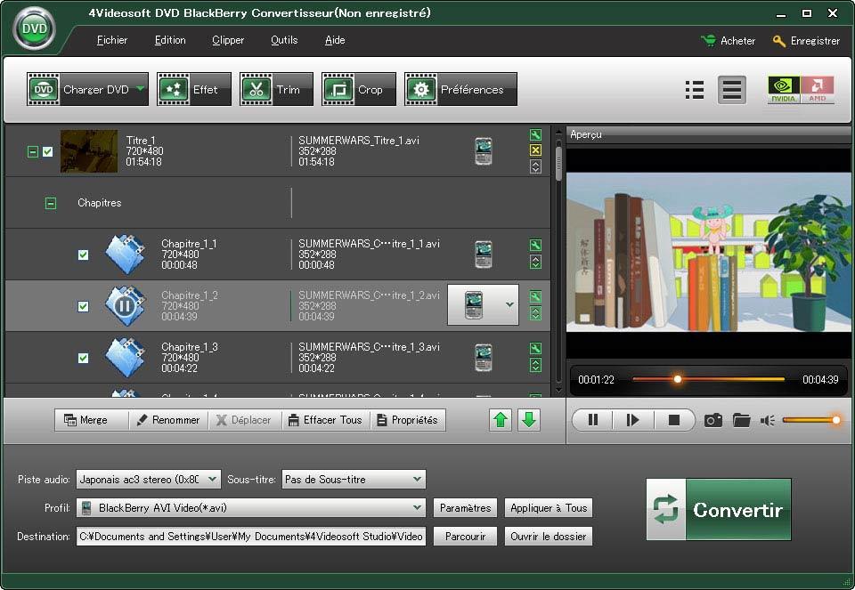 Windows 7 4Videosoft Convertisseur DVD BlackBerry 3.3.22 full