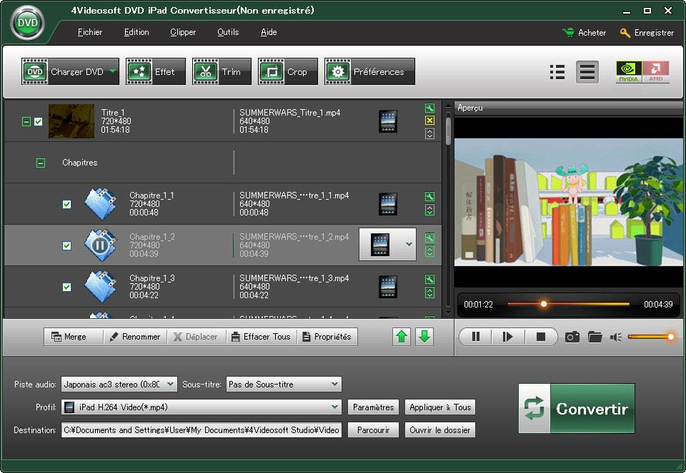 Click to view 4Videosoft DVD iPad Convertisseur 3.3.18 screenshot