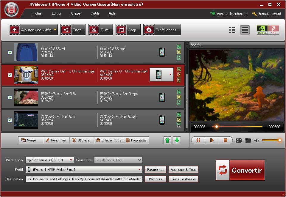 4Videosoft iPhone 4 Vidéo Convertisseur screenshot