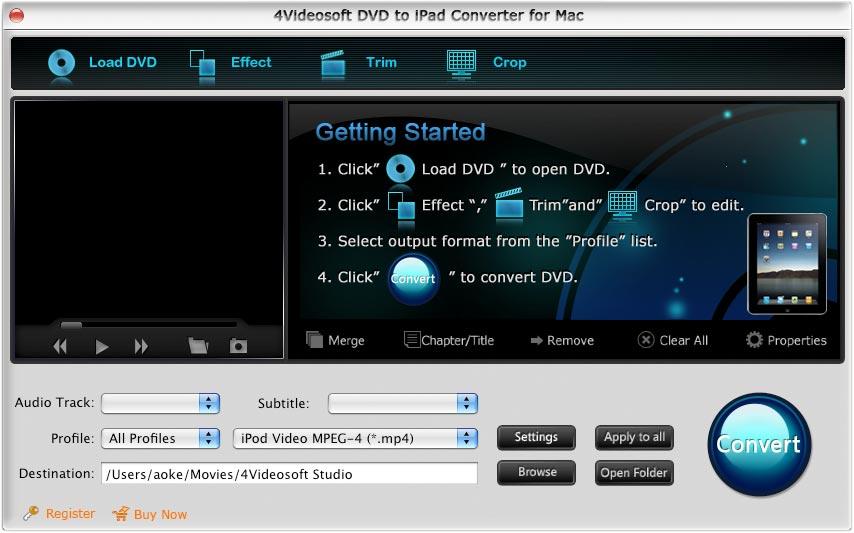 4Videosoft DVD iPad Convertisseur Mac full screenshot