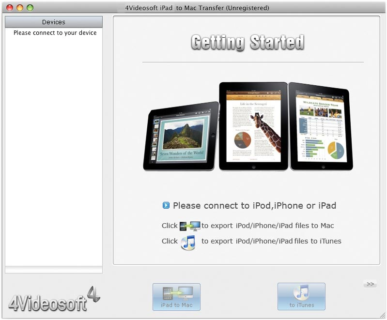 Screenshot of 4Videosoft Transfert iPad Mac 3.2.08