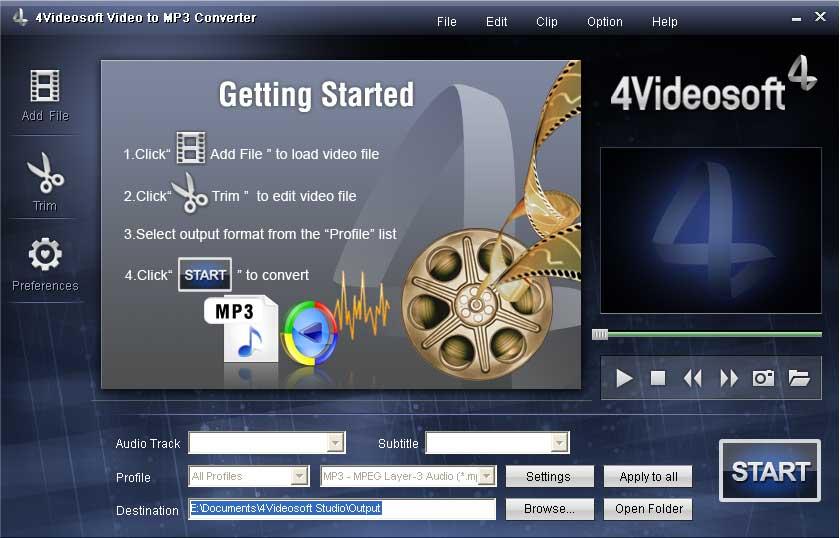 4Videosoft Convertisseur Vidéo en MP3 screenshot